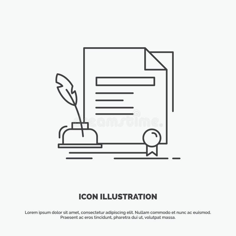 contratto, carta, documento, accordo, icona del premio Linea simbolo grigio di vettore per UI e UX, sito Web o applicazione mobil illustrazione vettoriale