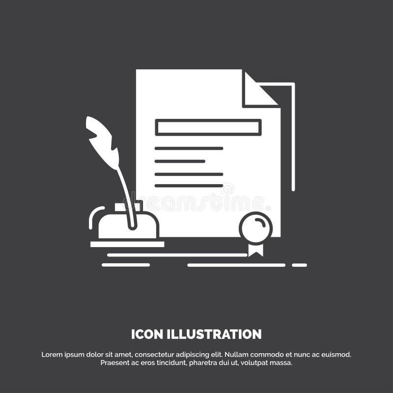 contratto, carta, documento, accordo, icona del premio r royalty illustrazione gratis
