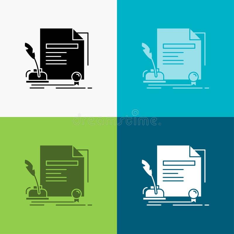 contratto, carta, documento, accordo, icona del premio sopra vario fondo progettazione di stile di glifo, progettata per il web e royalty illustrazione gratis