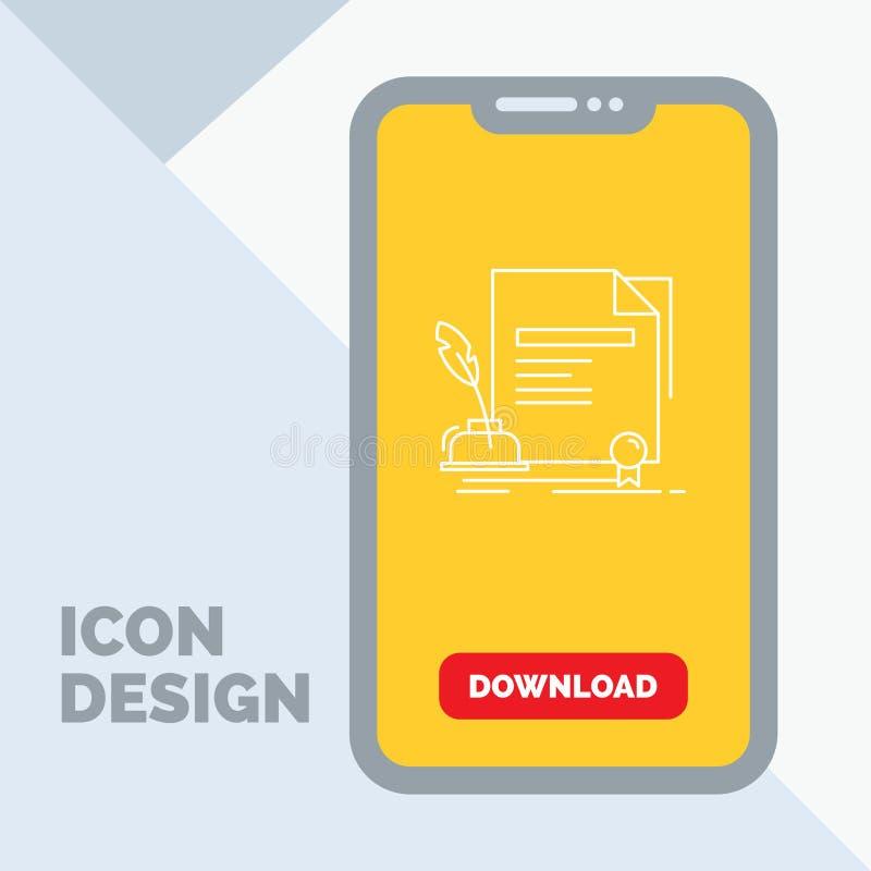 contratto, carta, documento, accordo, linea icona del premio in cellulare per la pagina di download royalty illustrazione gratis