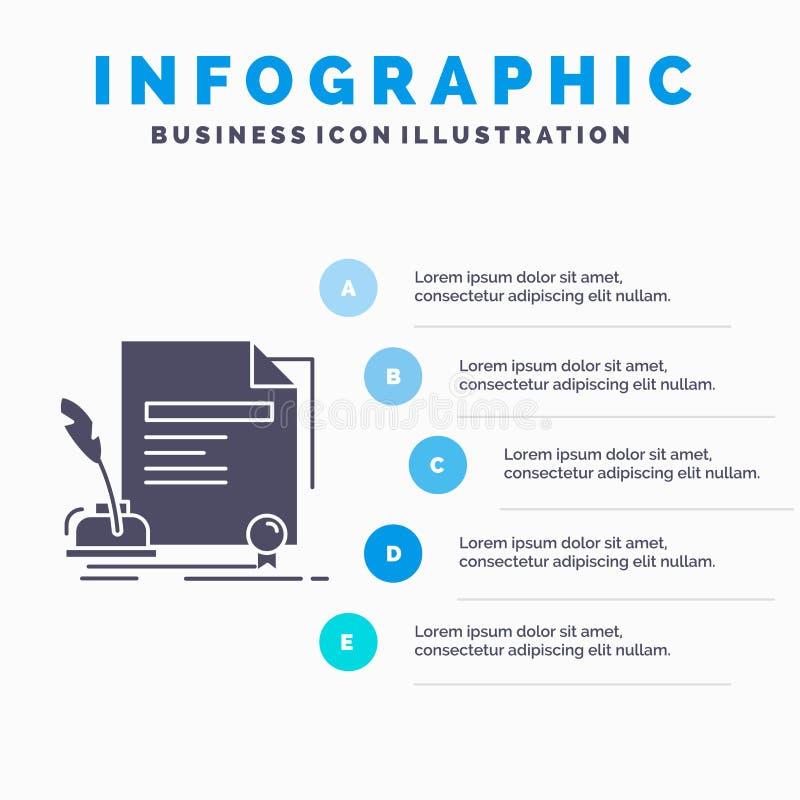 contratto, carta, documento, accordo, modello di Infographics del premio per il sito Web e presentazione Icona grigia di glifo co royalty illustrazione gratis