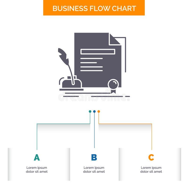 contratto, carta, documento, accordo, progettazione del diagramma di flusso di affari del premio con 3 punti Icona di glifo per i royalty illustrazione gratis