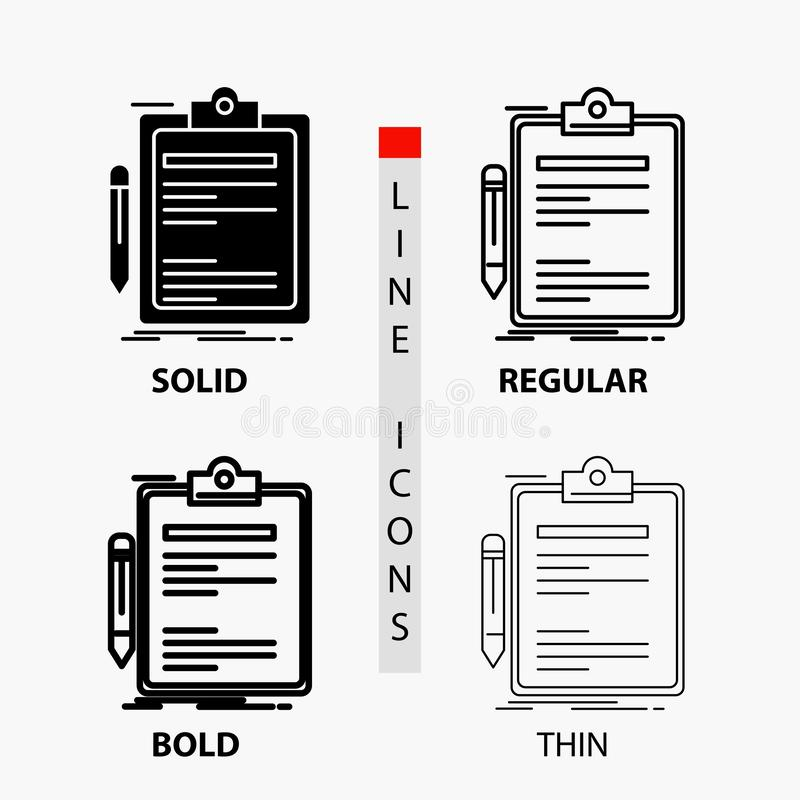 Contratto, controllo, affare, fatto, icona del bordo di clip nella linea e nello stile sottili, regolari, audaci di glifo Illustr royalty illustrazione gratis
