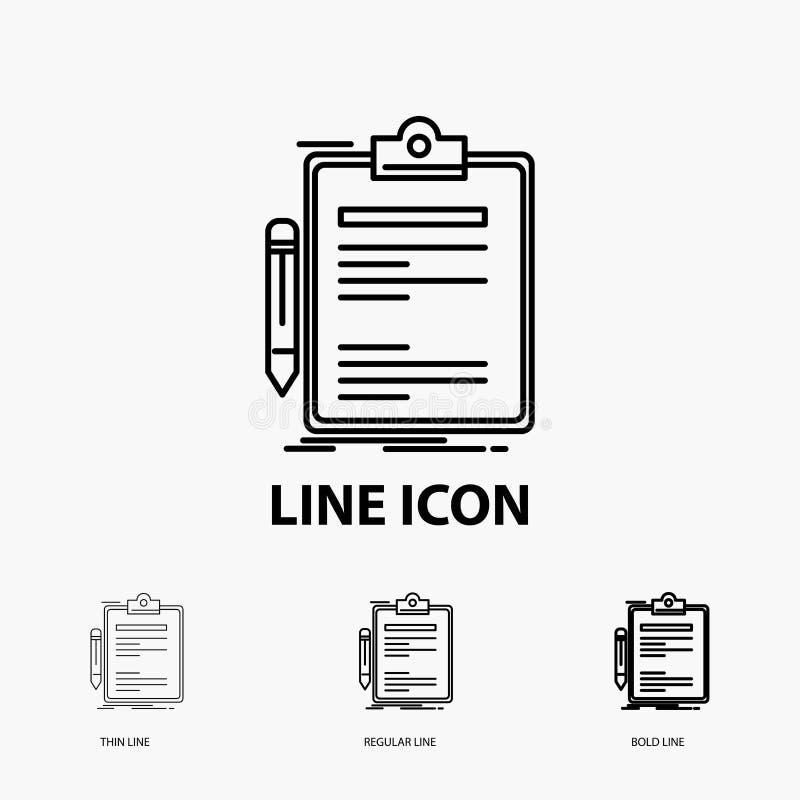 Contratto, controllo, affare, fatto, icona del bordo di clip nella linea stile sottile, regolare ed audace Illustrazione di vetto royalty illustrazione gratis