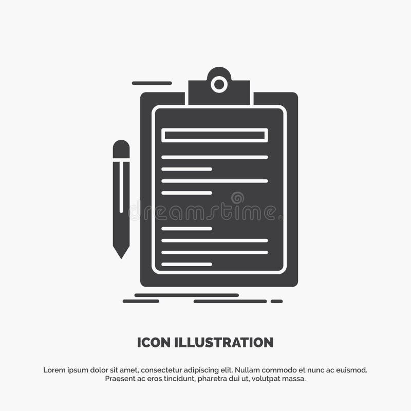 Contratto, controllo, affare, fatto, icona del bordo di clip simbolo grigio di vettore di glifo per UI e UX, sito Web o applicazi royalty illustrazione gratis