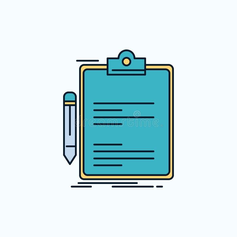 Contratto, controllo, affare, fatto, icona piana del bordo di clip segno e simboli verdi e gialli per il sito Web e il appliation illustrazione di stock