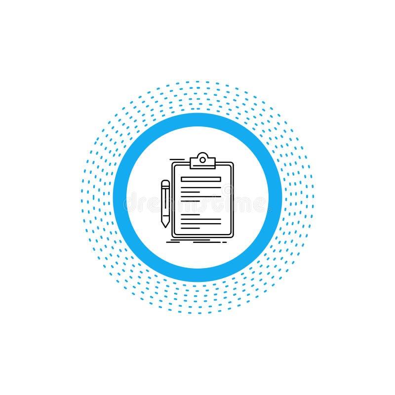 Contratto, controllo, affare, fatto, linea icona del bordo di clip Illustrazione isolata vettore illustrazione vettoriale