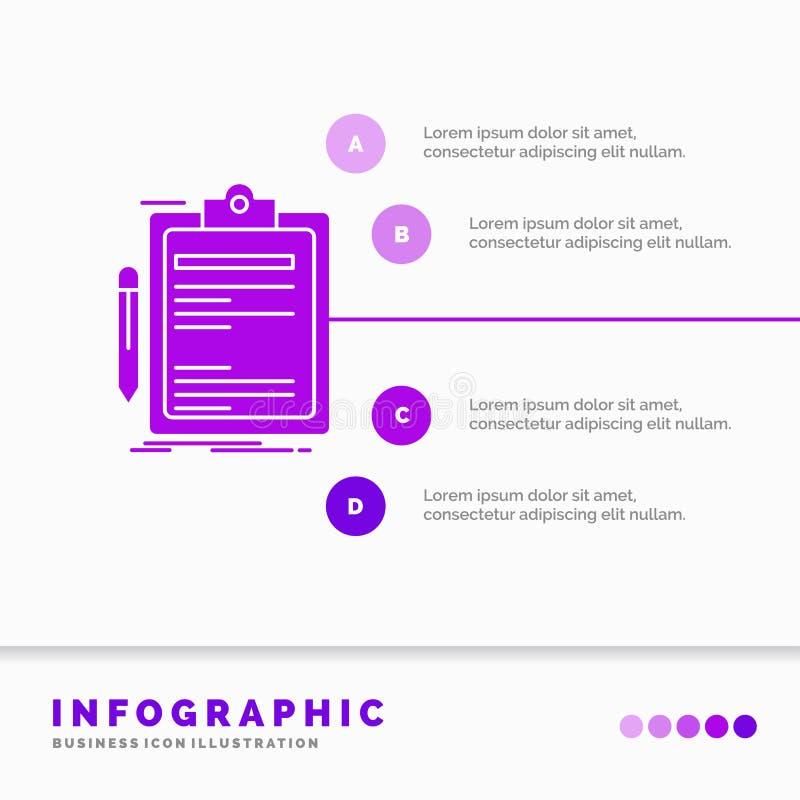 Contratto, controllo, affare, fatto, modello di Infographics del bordo di clip per il sito Web e presentazione Icona porpora di g illustrazione di stock