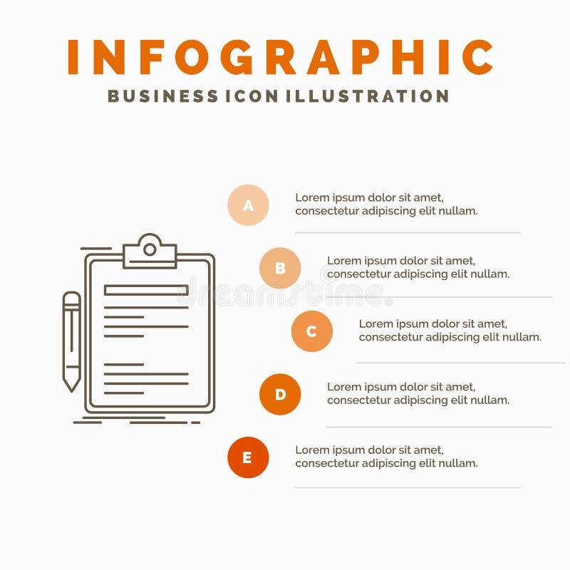 Contratto, controllo, affare, fatto, modello di Infographics del bordo di clip per il sito Web e presentazione Linea icona grigia illustrazione di stock