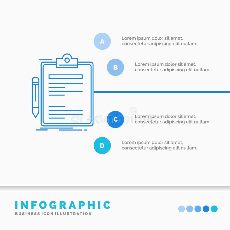 Contratto, controllo, affare, fatto, modello di Infographics del bordo di clip per il sito Web e presentazione Linea stile infogr illustrazione di stock
