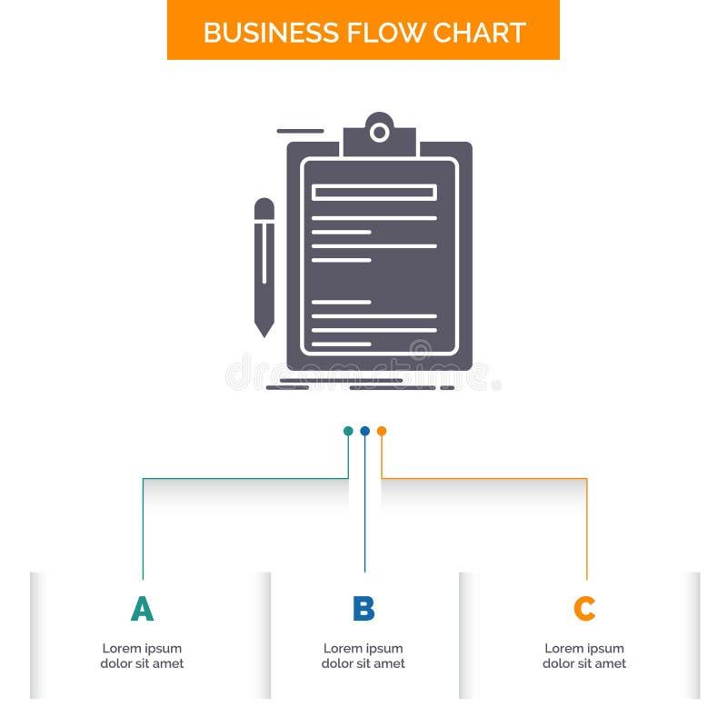 Contratto, controllo, affare, fatto, progettazione del diagramma di flusso di affari del bordo di clip con 3 punti Icona di glifo illustrazione di stock