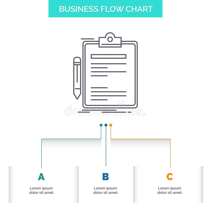 Contratto, controllo, affare, fatto, progettazione del diagramma di flusso di affari del bordo di clip con 3 punti Linea icona pe illustrazione vettoriale