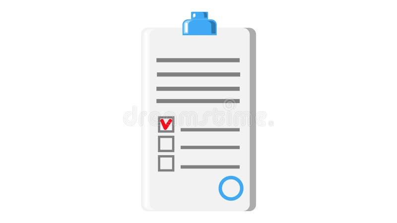 Contratto del modulo di domanda del documento cartaceo con la guarnizione ed icona astratta del testo su fondo bianco Illustrazio royalty illustrazione gratis