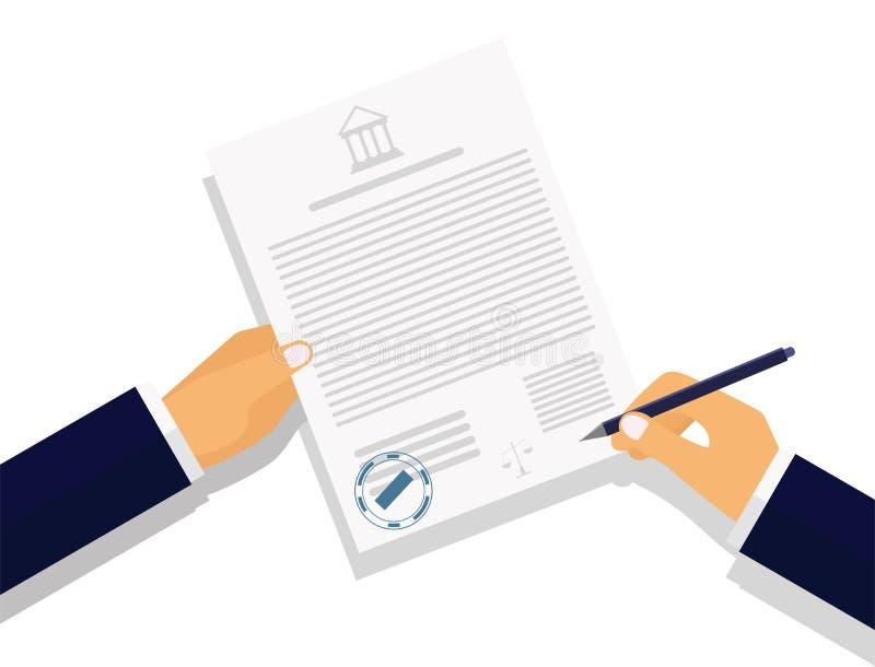 Contratto di firma del disegno di vettore su fondo bianco royalty illustrazione gratis