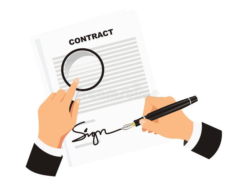 Contratto di firma per l'affare illustrazione vettoriale