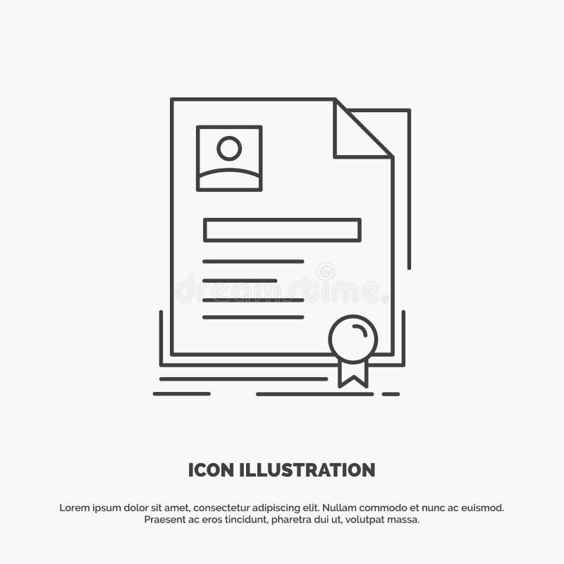 Contratto, distintivo, affare, accordo, icona del certificato Linea simbolo grigio di vettore per UI e UX, sito Web o applicazion illustrazione vettoriale