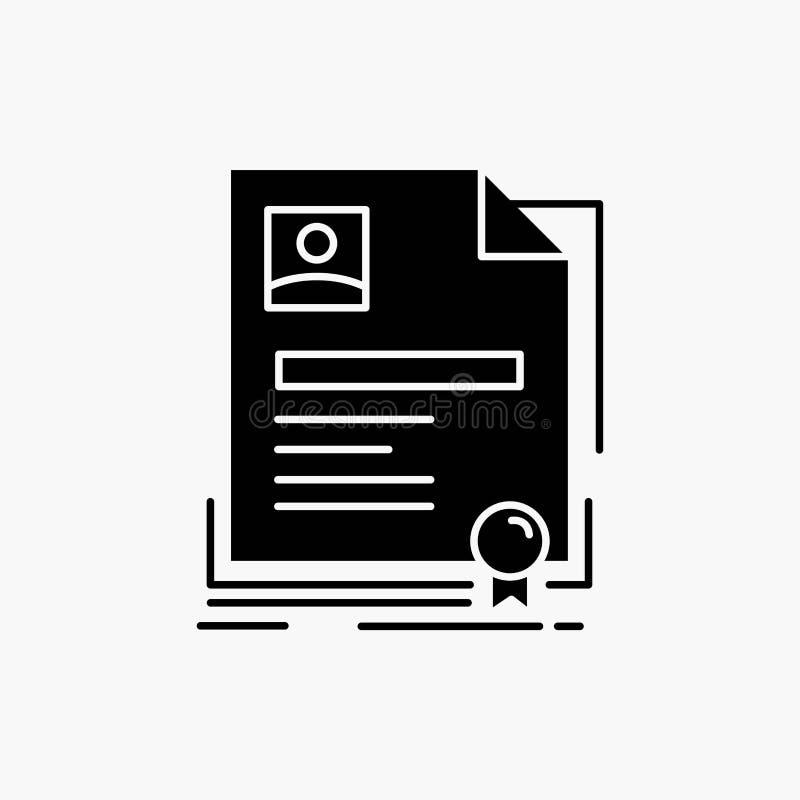 Contratto, distintivo, affare, accordo, icona di glifo del certificato Illustrazione isolata vettore illustrazione di stock
