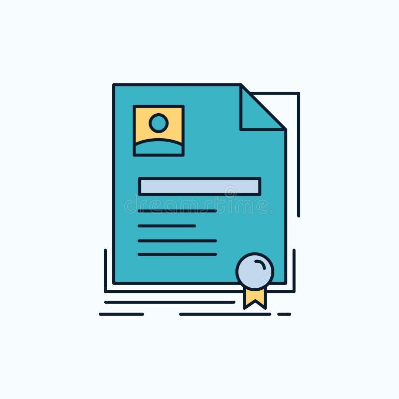 Contratto, distintivo, affare, accordo, icona piana del certificato segno e simboli verdi e gialli per il sito Web e il appliatio illustrazione vettoriale