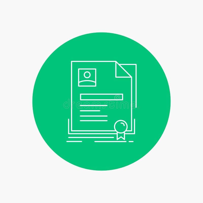 Contratto, distintivo, affare, accordo, linea bianca icona del certificato nel fondo del cerchio Illustrazione dell'icona di vett illustrazione vettoriale