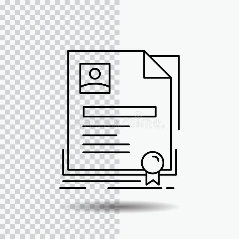 Contratto, distintivo, affare, accordo, linea icona del certificato su fondo trasparente Illustrazione nera di vettore dell'icona illustrazione di stock