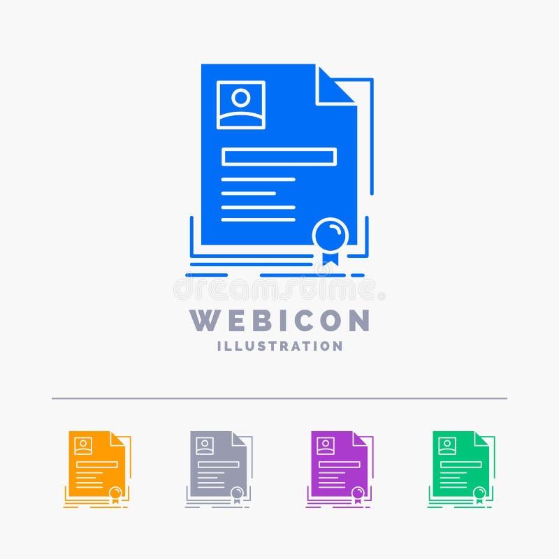Contratto, distintivo, affare, accordo, modello dell'icona di web di glifo di colore del certificato 5 isolato su bianco Illustra illustrazione di stock