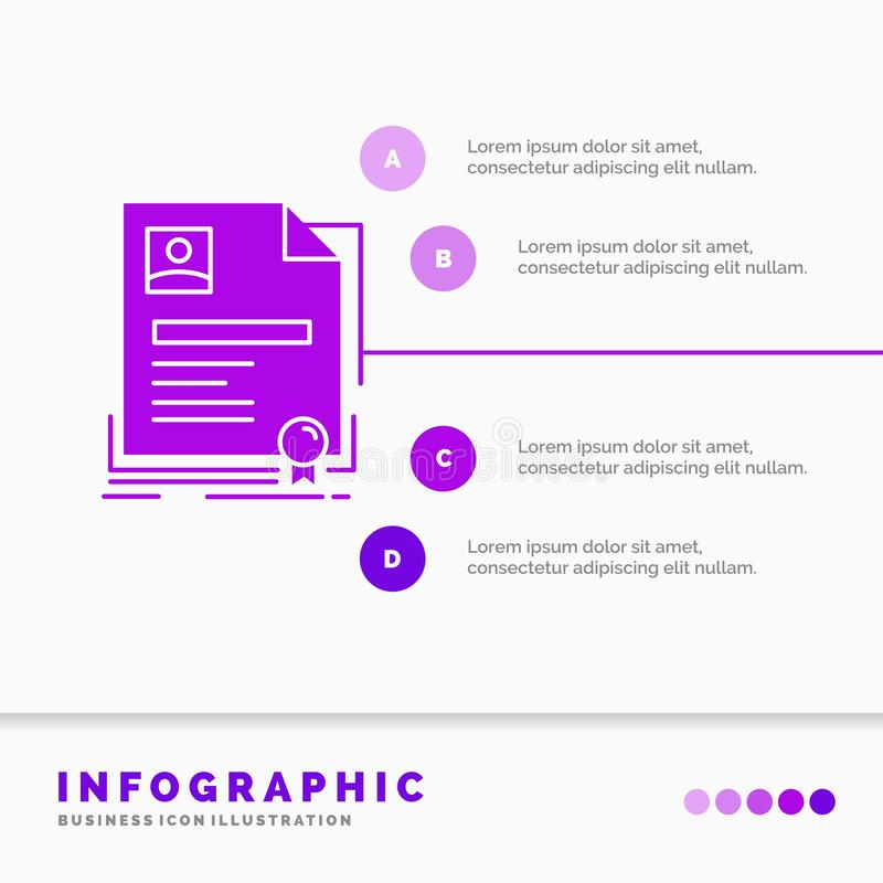 Contratto, distintivo, affare, accordo, modello di Infographics del certificato per il sito Web e presentazione Icona porpora di  illustrazione vettoriale
