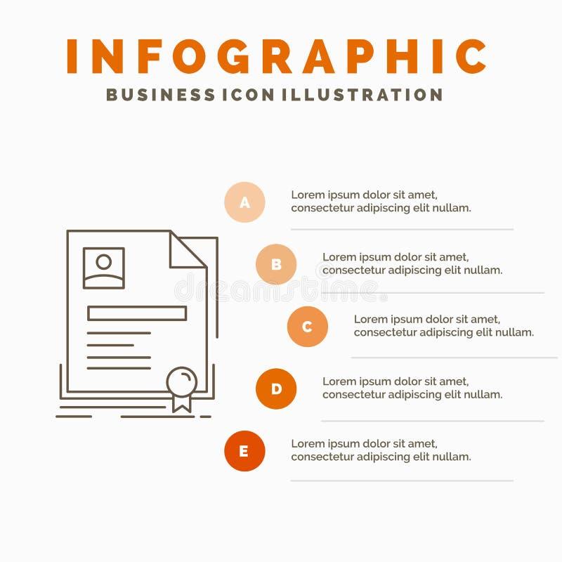 Contratto, distintivo, affare, accordo, modello di Infographics del certificato per il sito Web e presentazione Linea icona grigi royalty illustrazione gratis