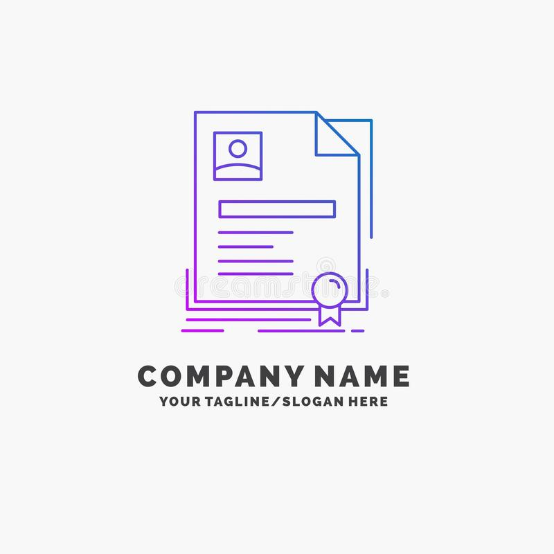 Contratto, distintivo, affare, accordo, affare porpora Logo Template del certificato Posto per il Tagline illustrazione vettoriale