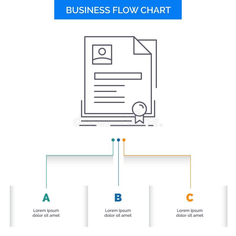 Contratto, distintivo, affare, accordo, progettazione del diagramma di flusso di affari del certificato con 3 punti Linea icona p illustrazione di stock