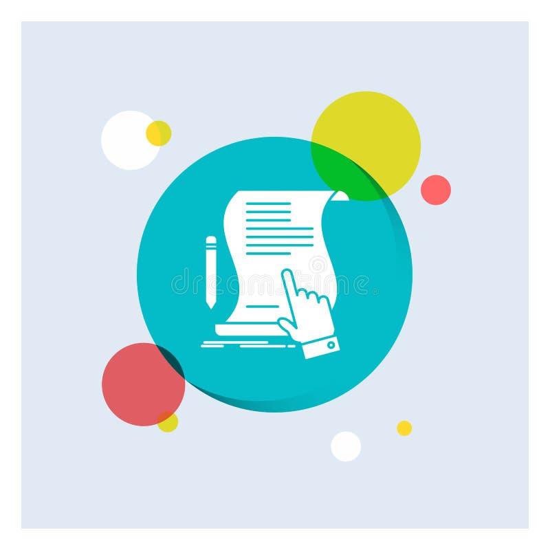 contratto, documento, carta, segno, accordo, fondo variopinto del cerchio dell'icona bianca di glifo di applicazione royalty illustrazione gratis