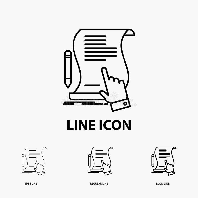 contratto, documento, carta, segno, accordo, icona dell'applicazione nella linea stile sottile, regolare ed audace Illustrazione  illustrazione di stock