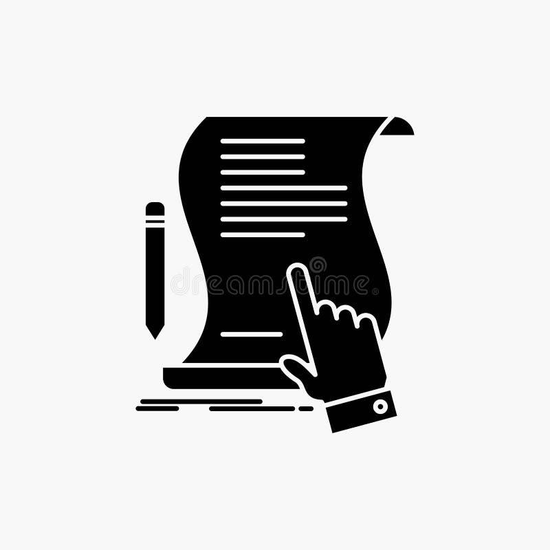 contratto, documento, carta, segno, accordo, icona di glifo di applicazione Illustrazione isolata vettore illustrazione di stock