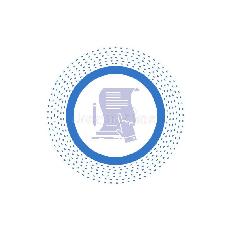 contratto, documento, carta, segno, accordo, icona di glifo di applicazione Illustrazione isolata vettore illustrazione vettoriale