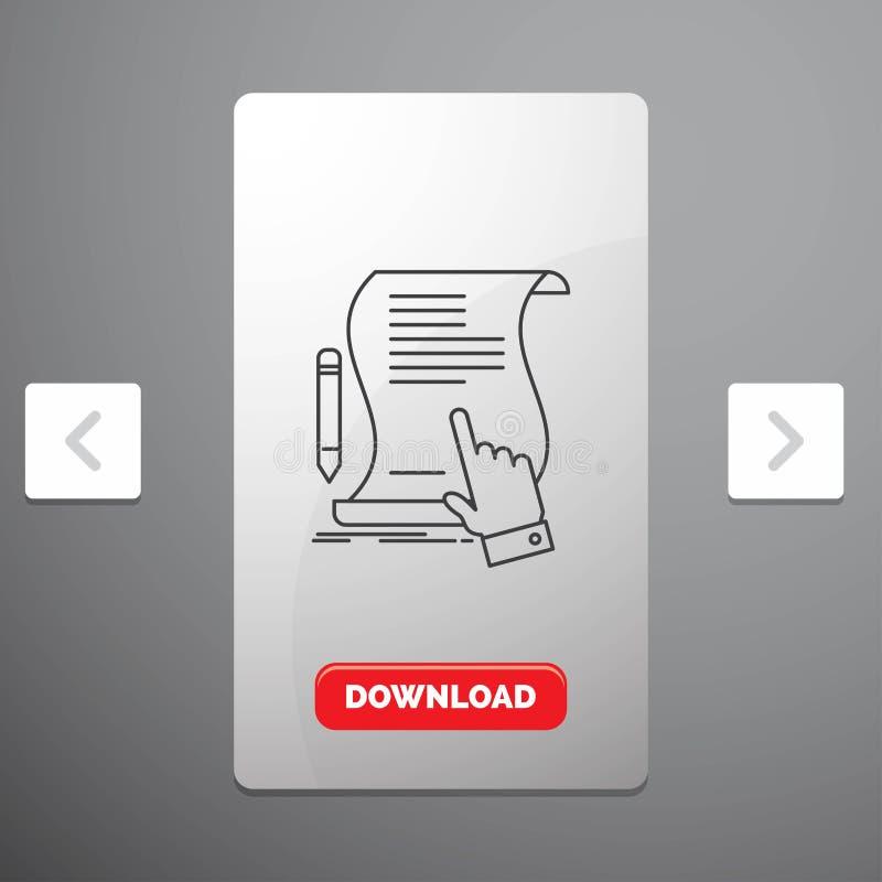 contratto, documento, carta, segno, accordo, linea icona di applicazione nella progettazione del cursore di impaginazioni di Caro illustrazione vettoriale
