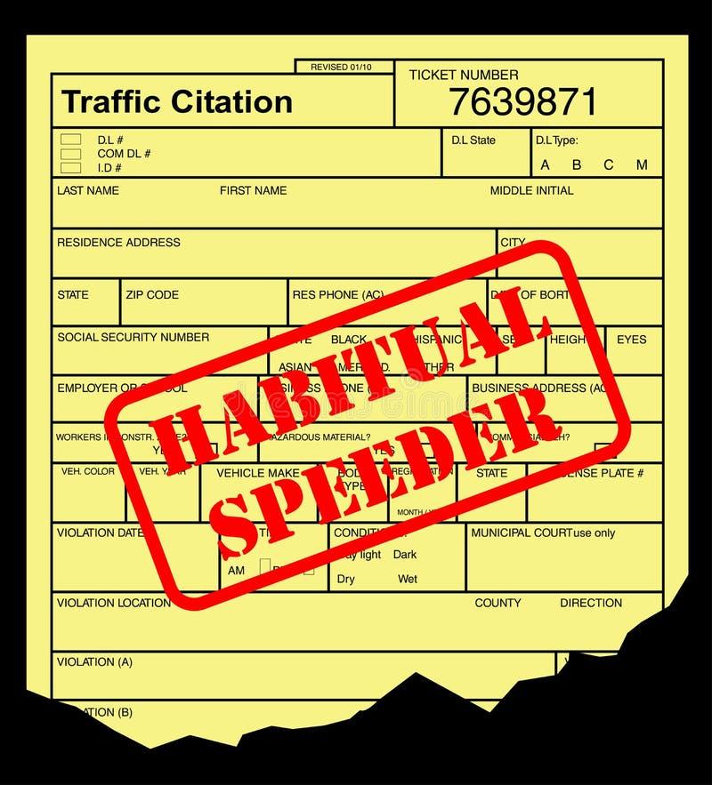 Contravention pour excès de vitesse illustration libre de droits