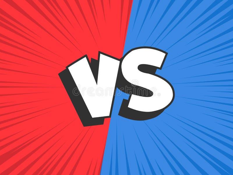 Contre comparez Rouge CONTRE le cadre bleu de conflit de bataille, désaccord de confrontation et combattre le fond comique d'illu illustration stock