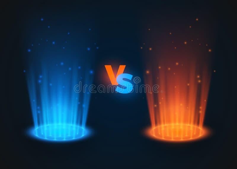 Contre des couleurs rouges et bleues rougeoyantes de projecteur Contre la sc?ne de bataille avec des rayons et des ?tincelles Hol illustration libre de droits