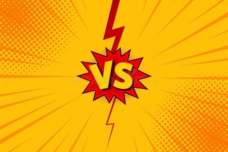 Contre CONTRE des milieux de combat de lettres dans la conception plate de style de bandes dessinées avec l'image tramée, foudre  illustration libre de droits