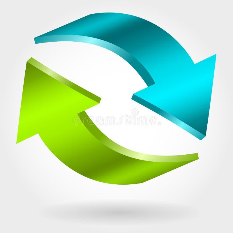 Contre- flèches bleues et vertes illustration 3D illustration stock