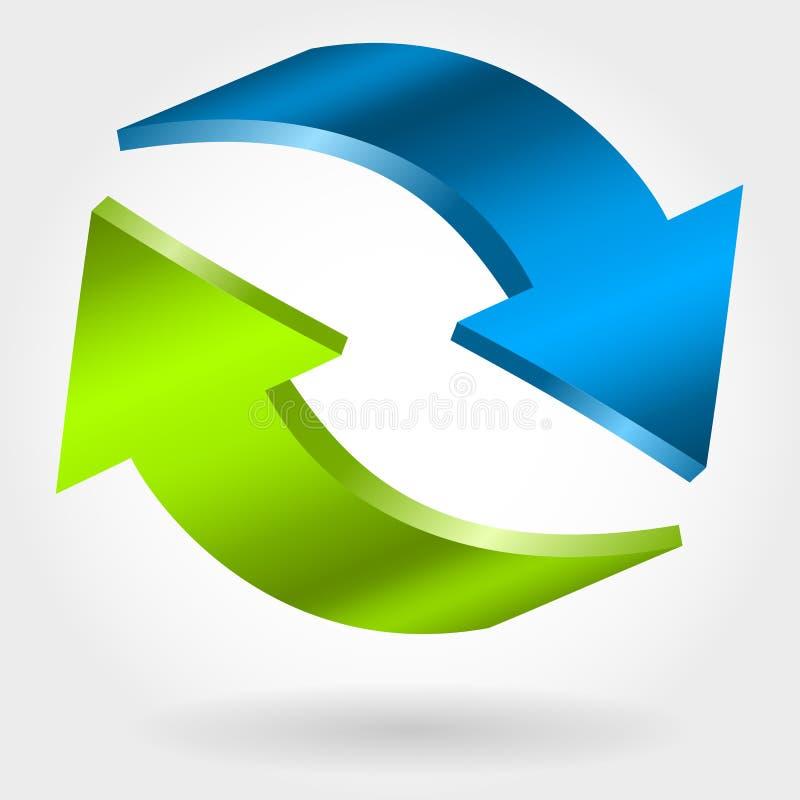 Contre- flèches bleues et vertes illustration 3D Symbole d'échange et de récupération illustration de vecteur