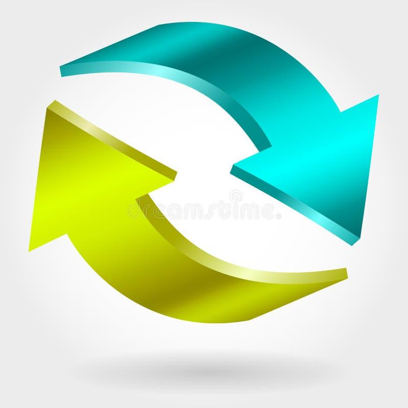Contre- flèches bleues et vertes illustration 3D Symbole d'échange et de récupération illustration libre de droits