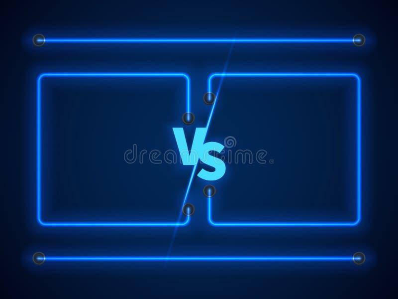 Contre l'écran avec les cadres au néon bleus et contre des lettres Vecteur courant illustration stock