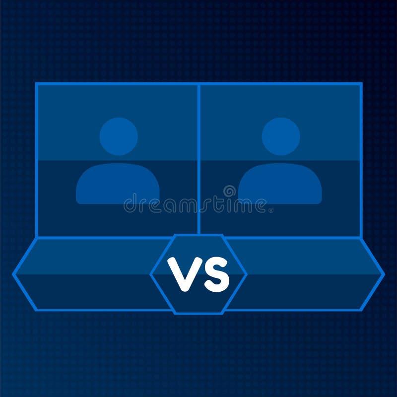 Contre l'écran avec les cadres carrés vides Bleu contre le conseil des rivaux, avec l'espace pour la photo sur le fond foncé illustration de vecteur