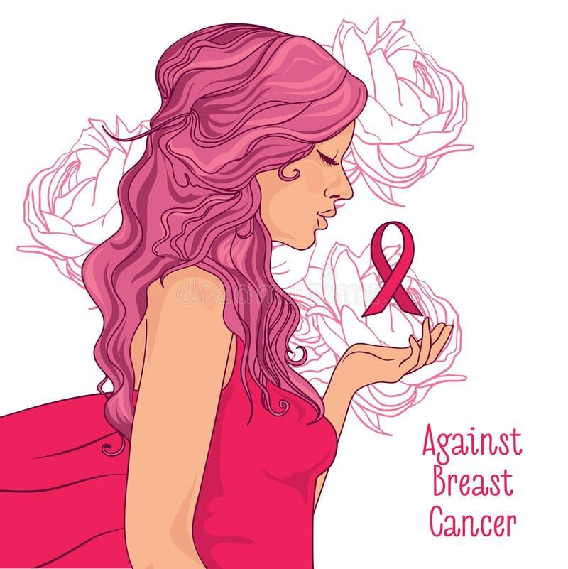 contre la bannière de cancer du sein, belle fille avec le ruban rose illustration libre de droits