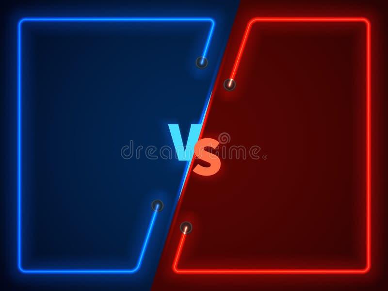 Contre la bataille, l'écran de confrontation d'affaires avec les cadres au néon et contre l'illustration de vecteur de logo illustration libre de droits