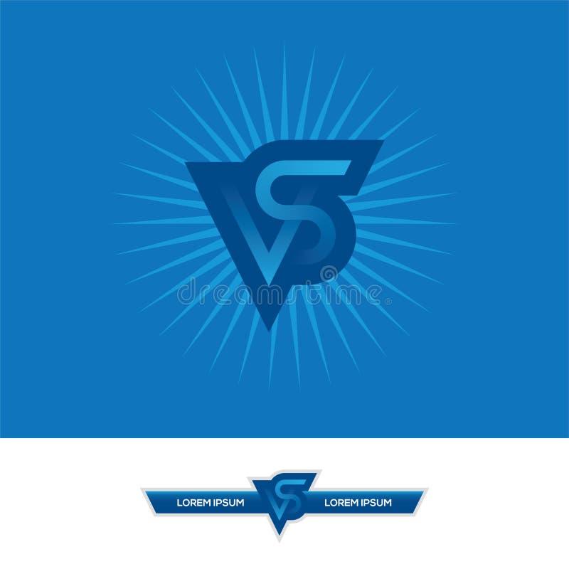 CONTRE la conception de logo de lettres dans des couleurs bleues illustration libre de droits