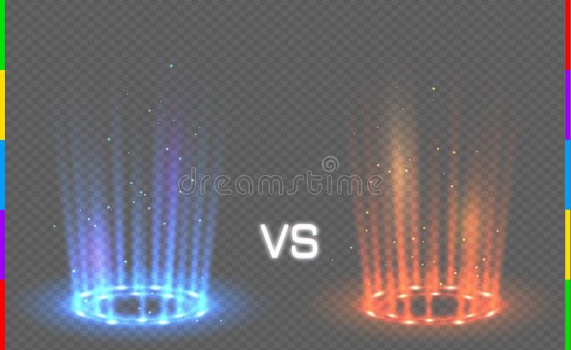 Contre la lueur bleue et rouge ronde rayonne la scène de nuit avec des étincelles sur le fond transparent Transparent dans le for illustration libre de droits