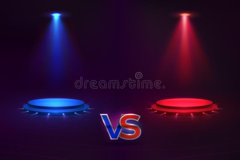 Contre le concept Hologramme rougeoyant de piédestal, match de jeu CONTRE le fond, vecteur de concours de concurrence de Muttahid illustration stock