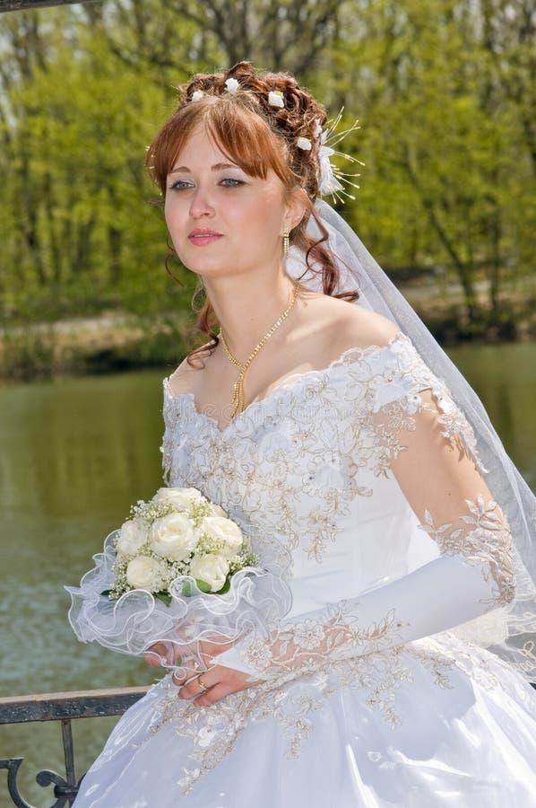 contre le lac de mariée photographie stock libre de droits
