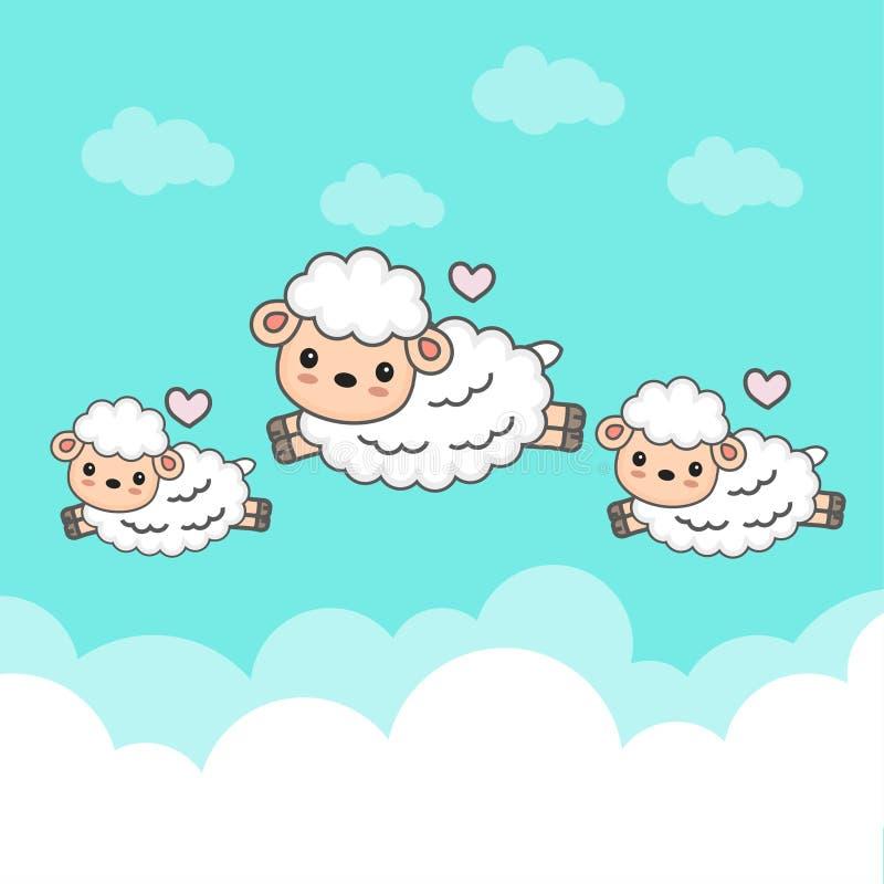 Contre- moutons et bébé sautant dans le ciel illustration libre de droits